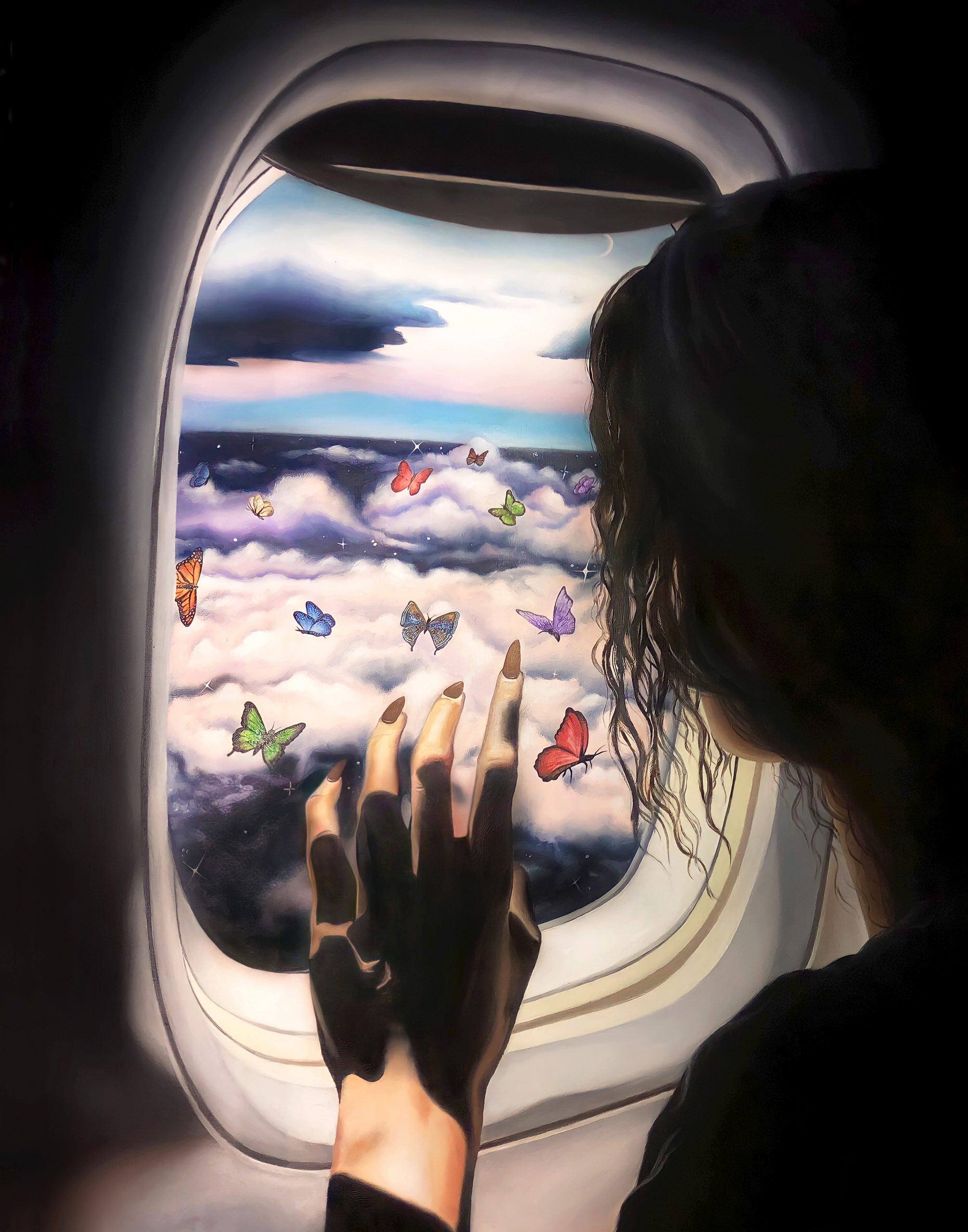 Painting of a woman staring out of an airplane window with butterflies outside