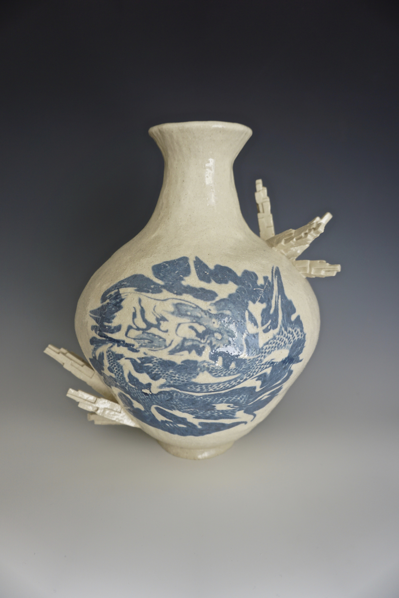 Ceramics Vase with a blue pattern in the front