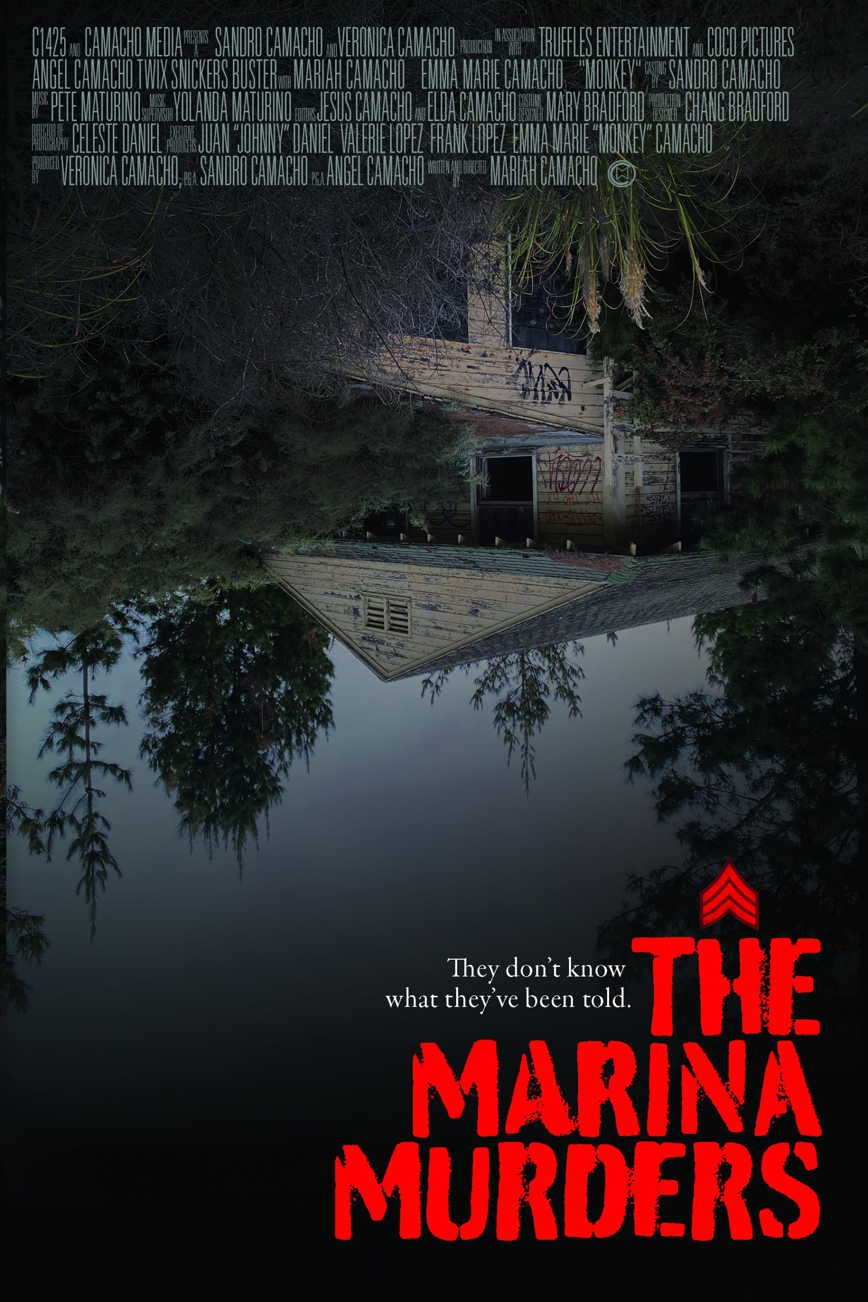 Movie poster for a horror movie where a cabin is displayed upside down