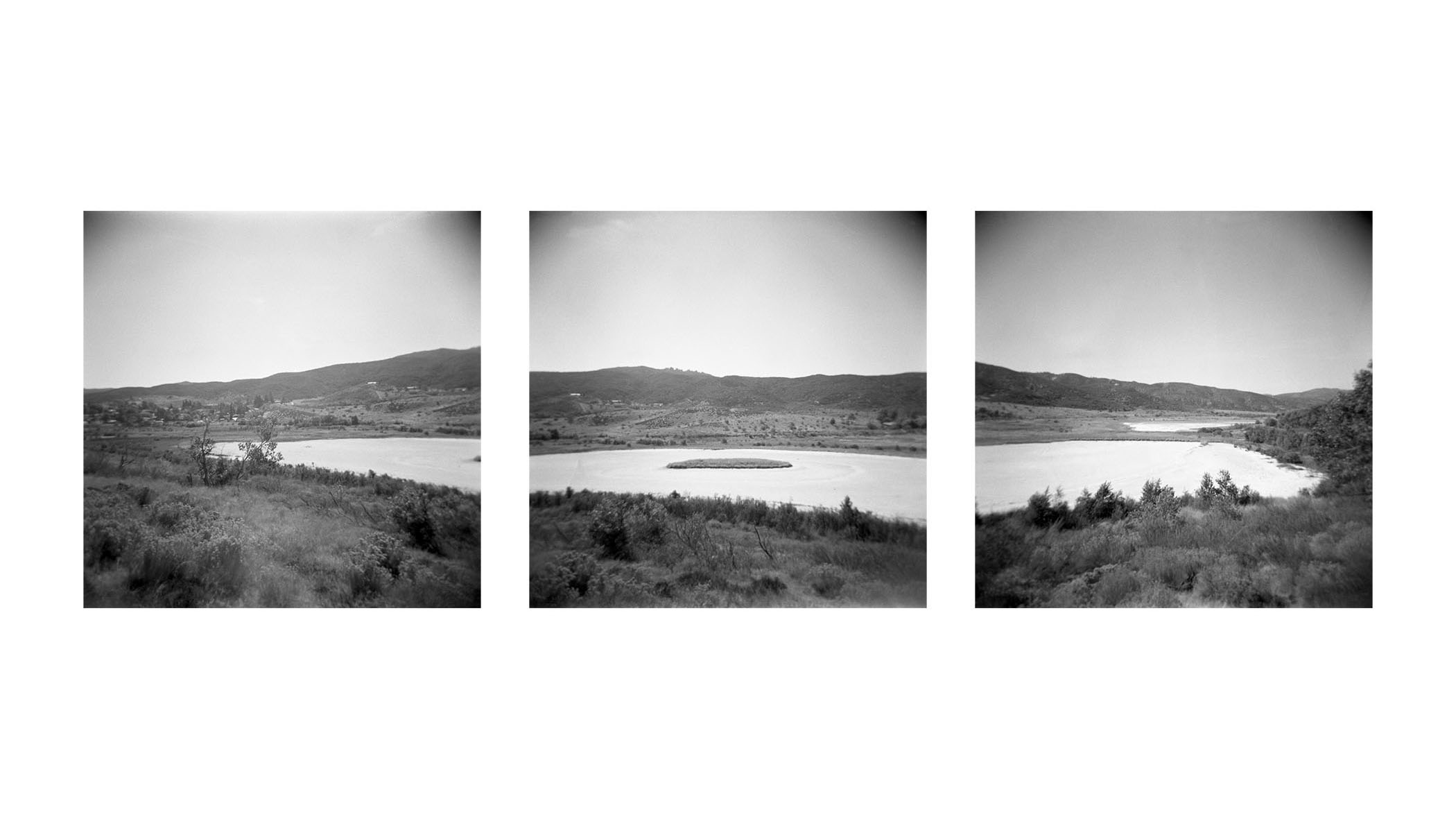 Scanned Medium Format B&W Film of a Lake. Image is split into three that all connect to make one big image