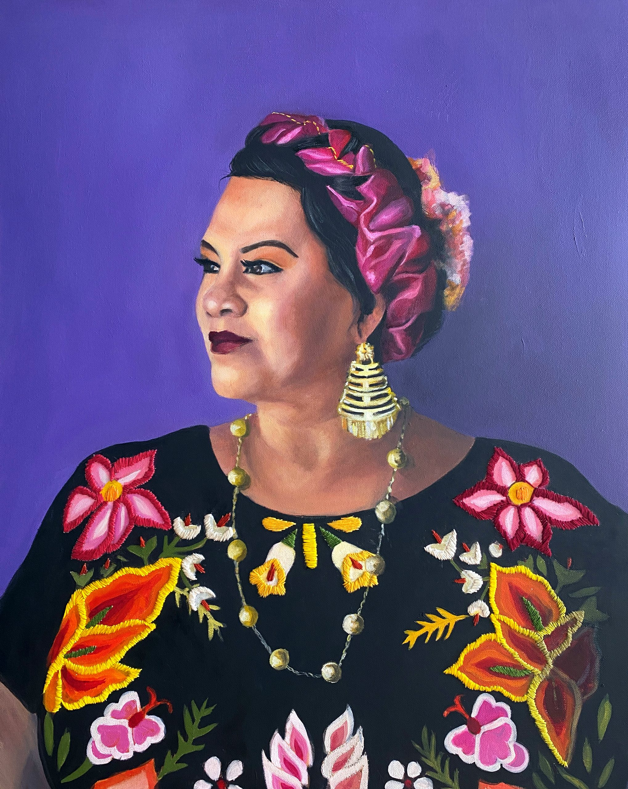 Mexican woman on a purple background