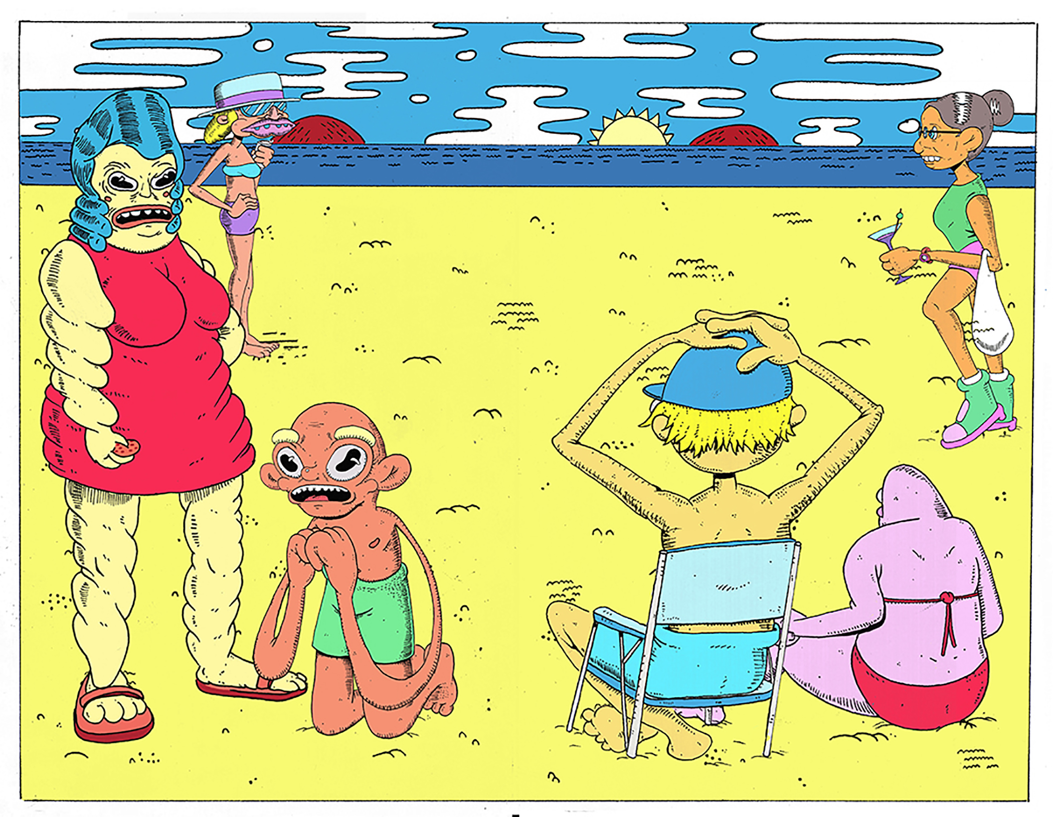 Illustration of characters at the beach observing the scene