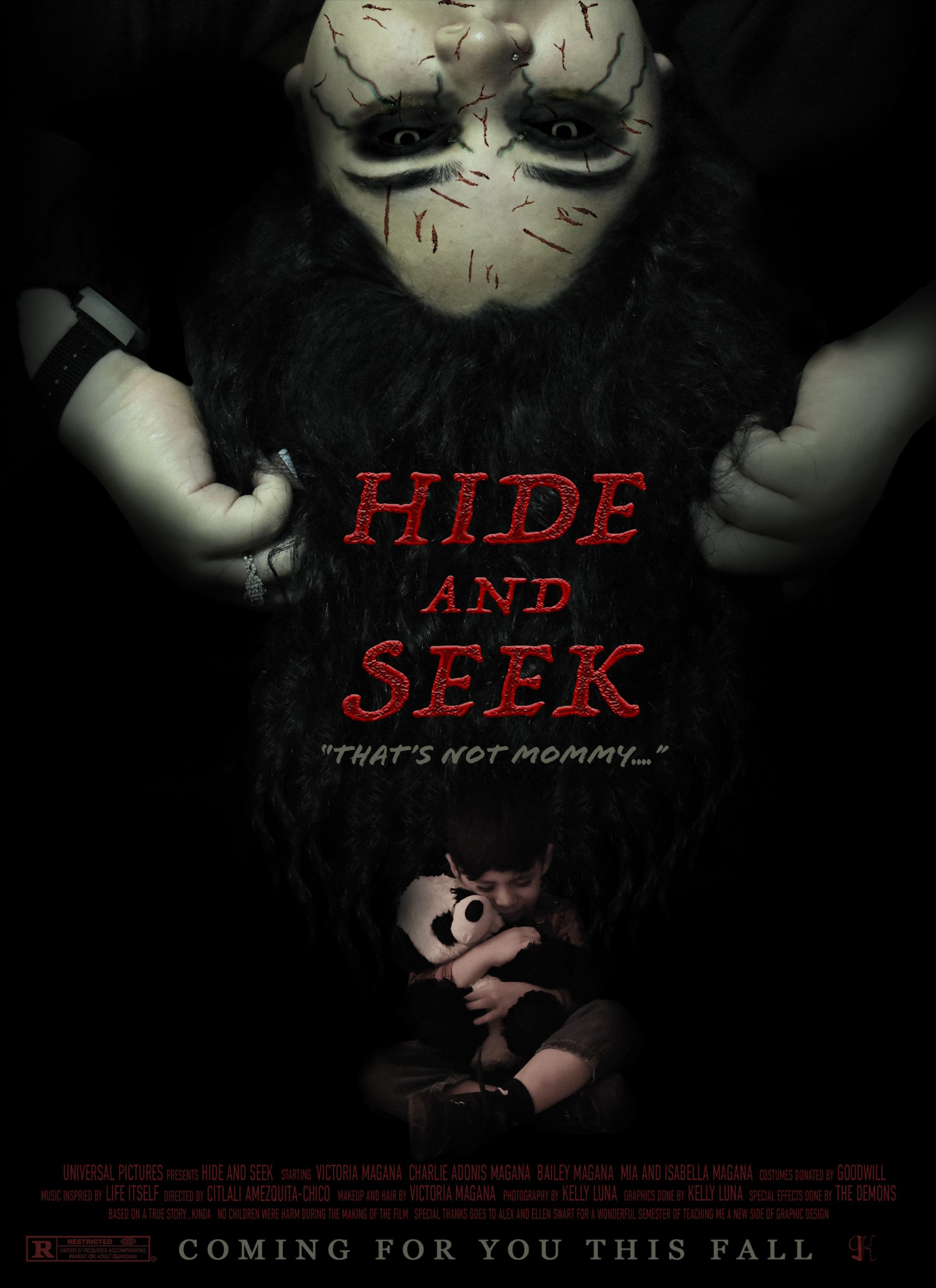 Horror movie poster where child hold bear scared while  a scary man is upside down  on top of poster