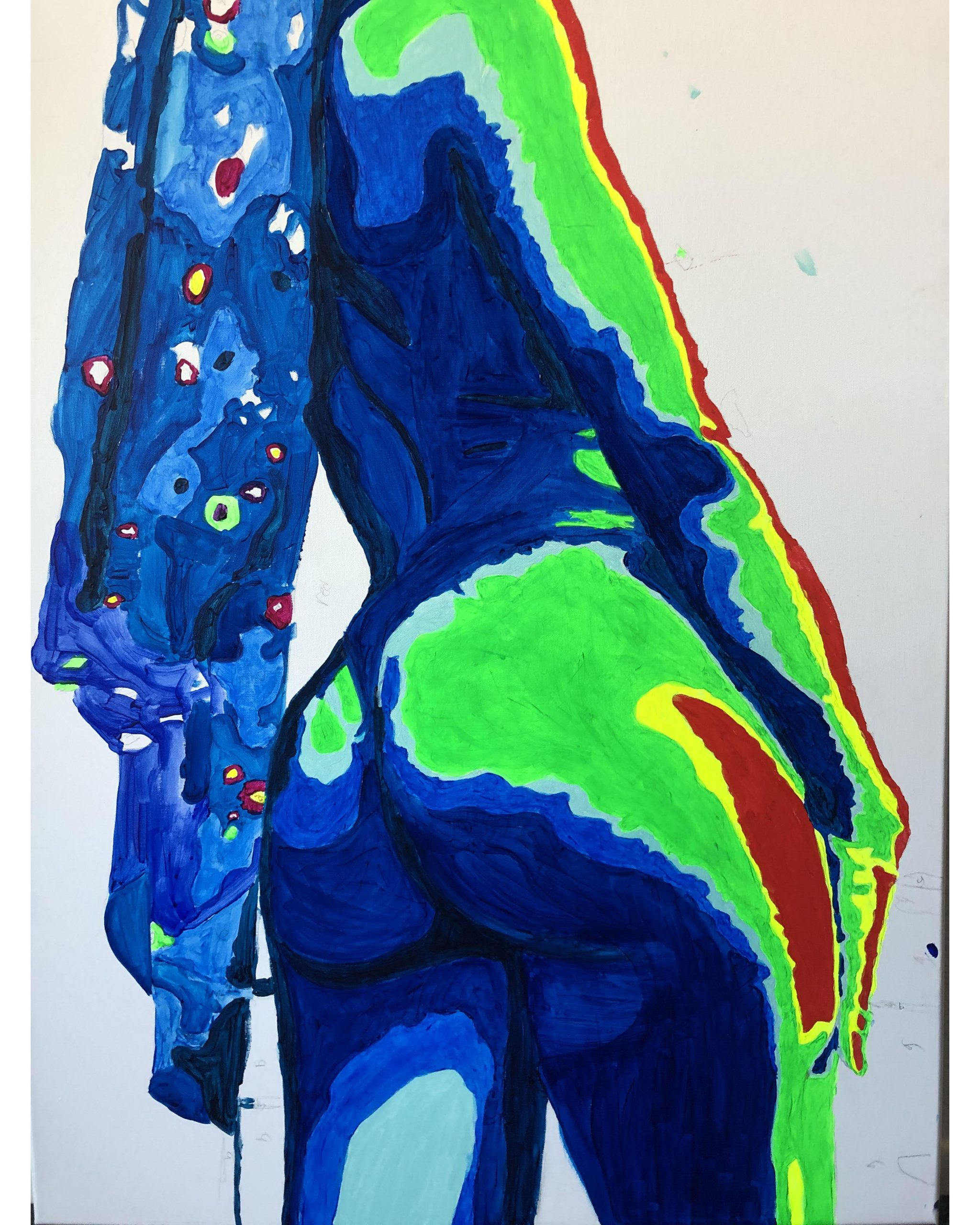 silhouette of a woman's body painted in blue, green, yellow, and red