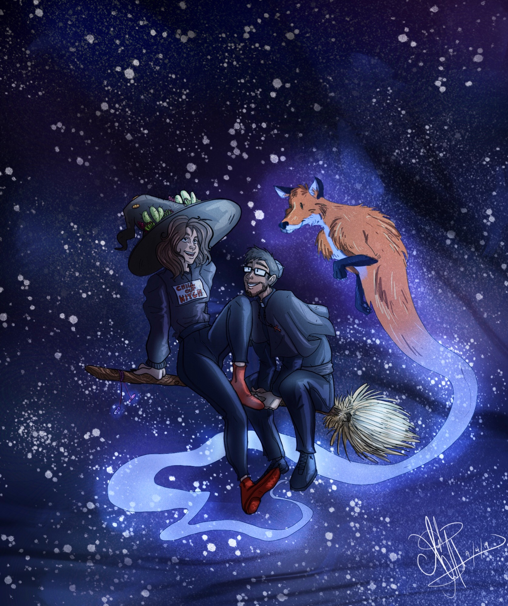 two figures flying on broom in nightsky with fox