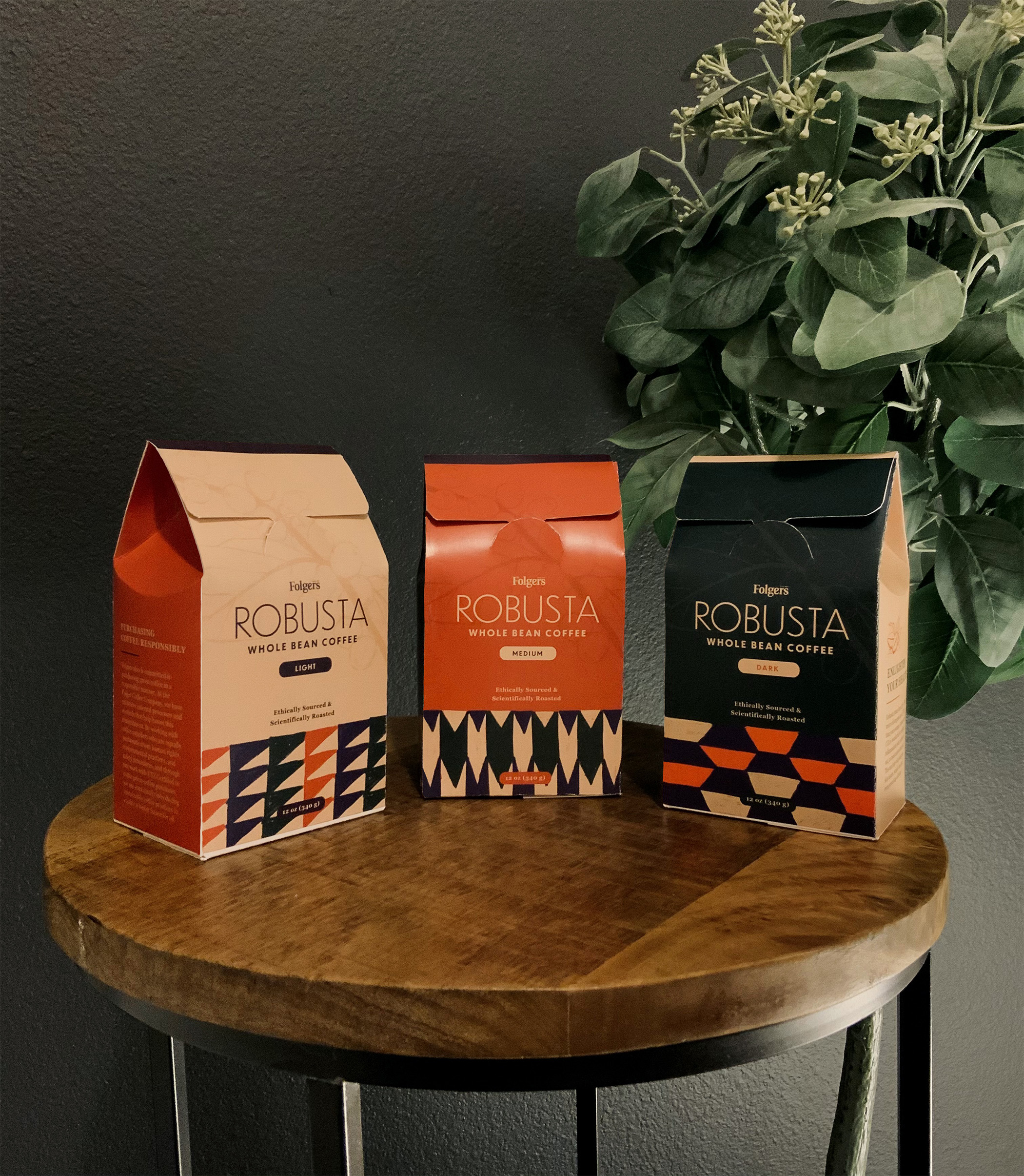 package design Folgers coffee. Colors of design are red, black and light peach