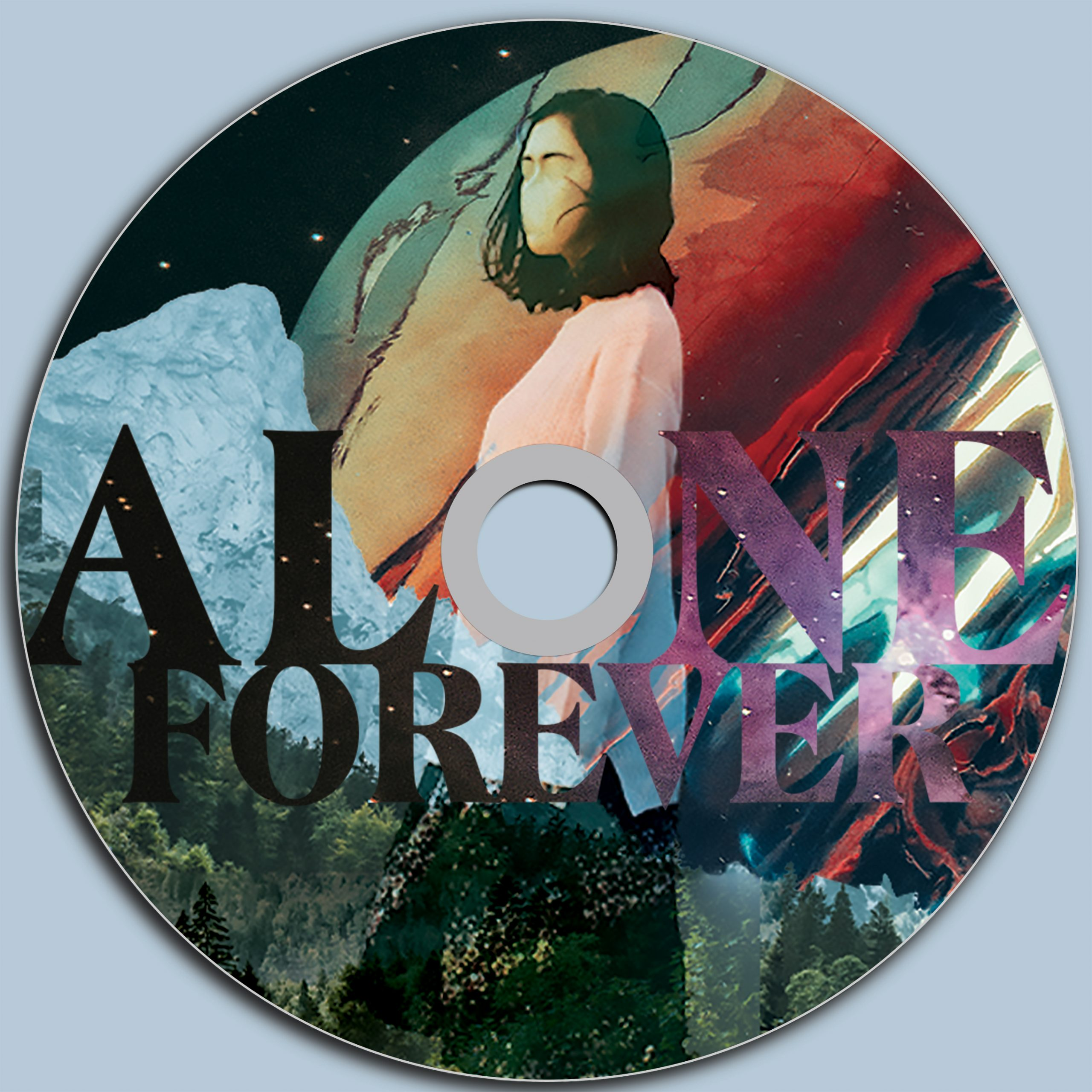 Cd design that spells Alone Forever. Girl in surreal style image in space with color planet behind her