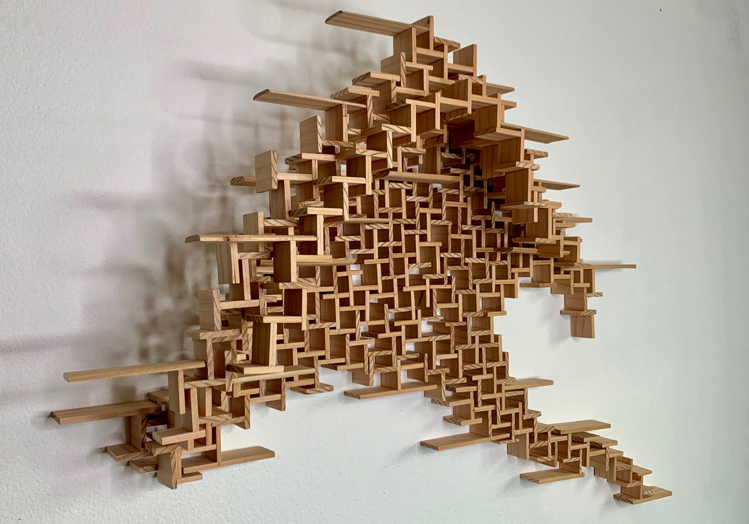 Wooden Sculpture hanging on wall