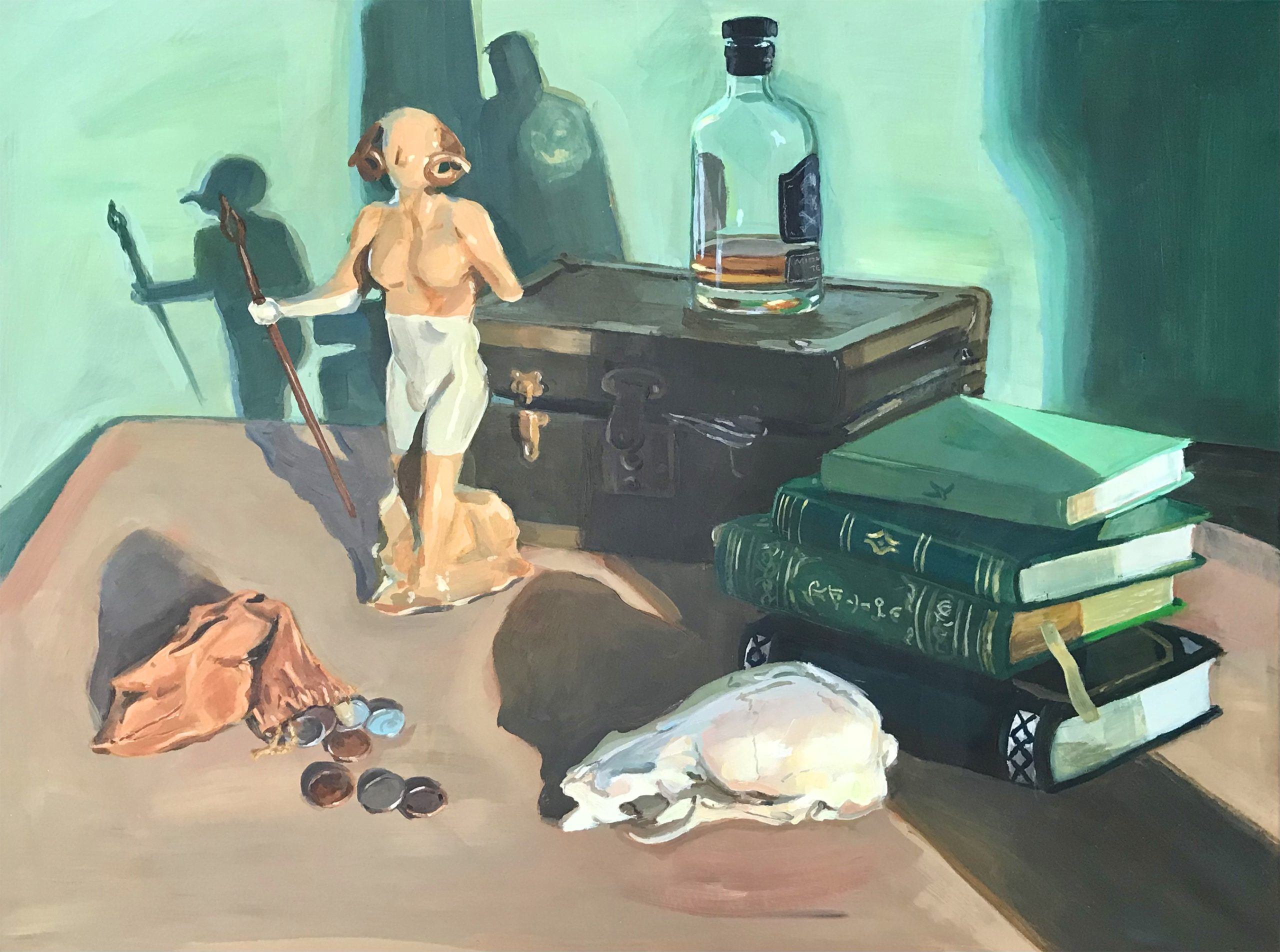 Acrylic still life of a satyr, a bag of coins, an animal skull, a stack of books, a treasure chest and a glass bottle