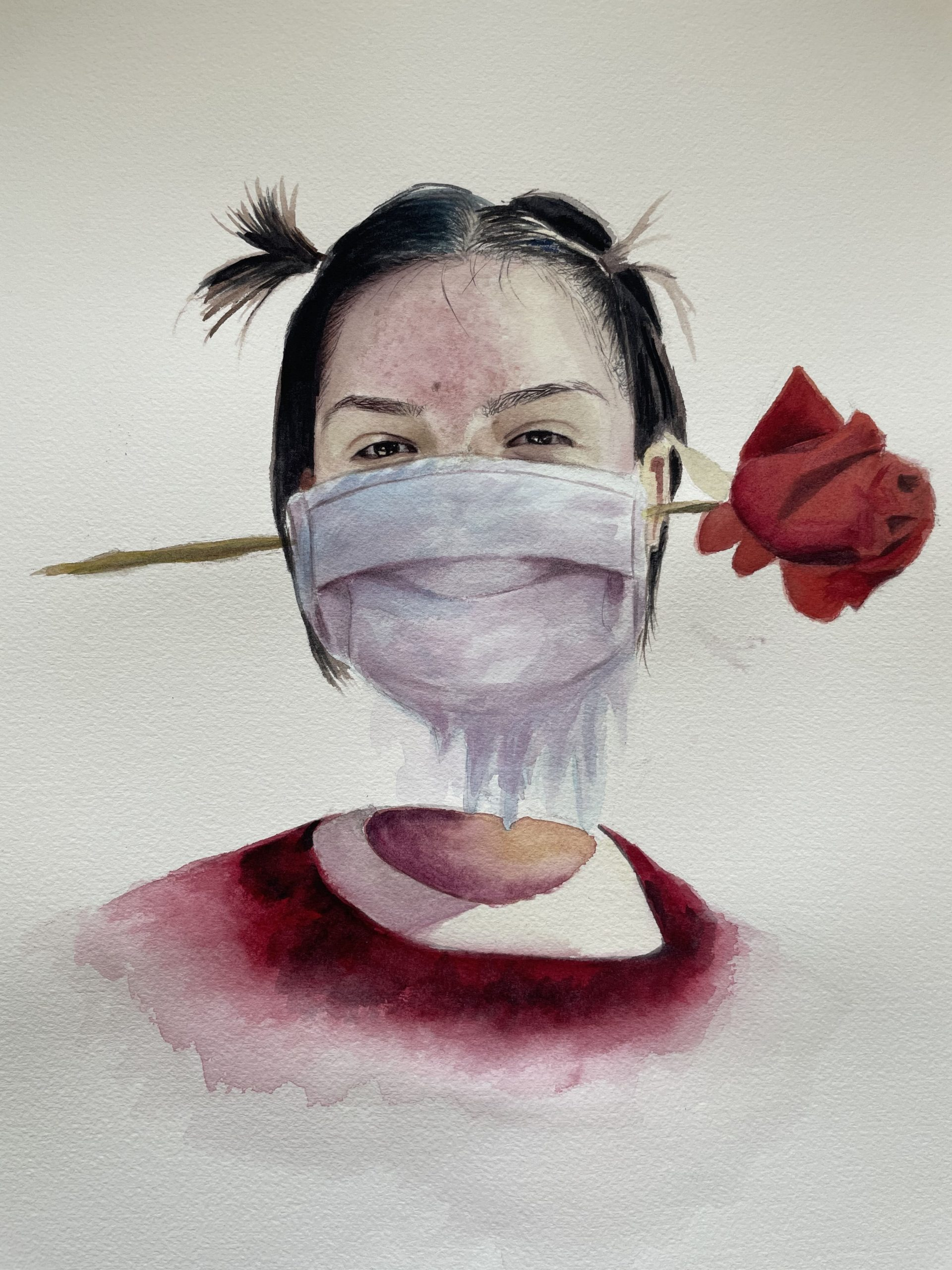 Portrait painting of woman wearing a mask