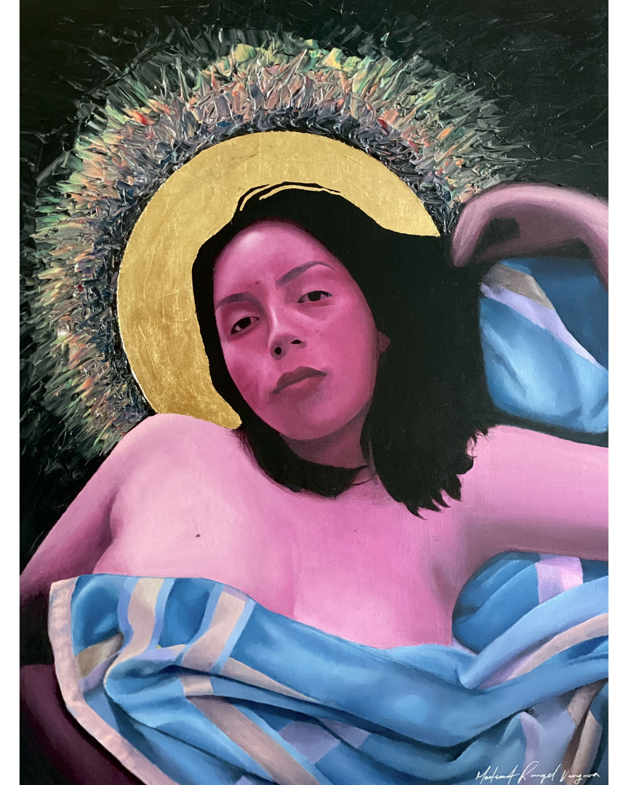 Acrylic painting of a pink skinned woman with black hair and a blue and yellow striped cloth draped over her breasts. A Gold leaf halo behind her head
