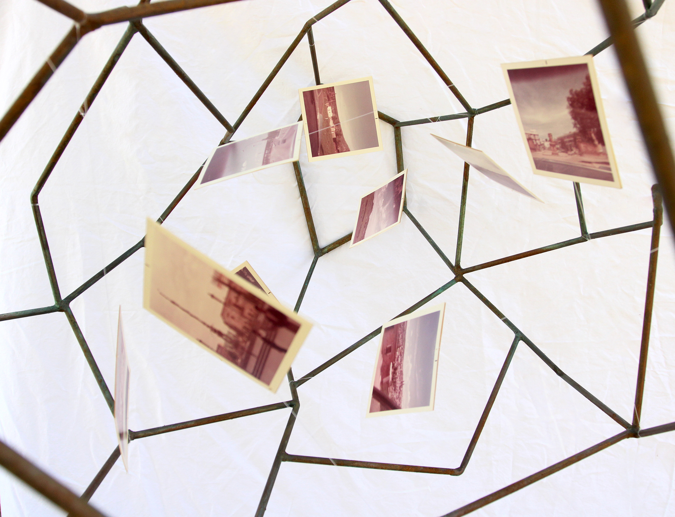 cage with polaroid photographs