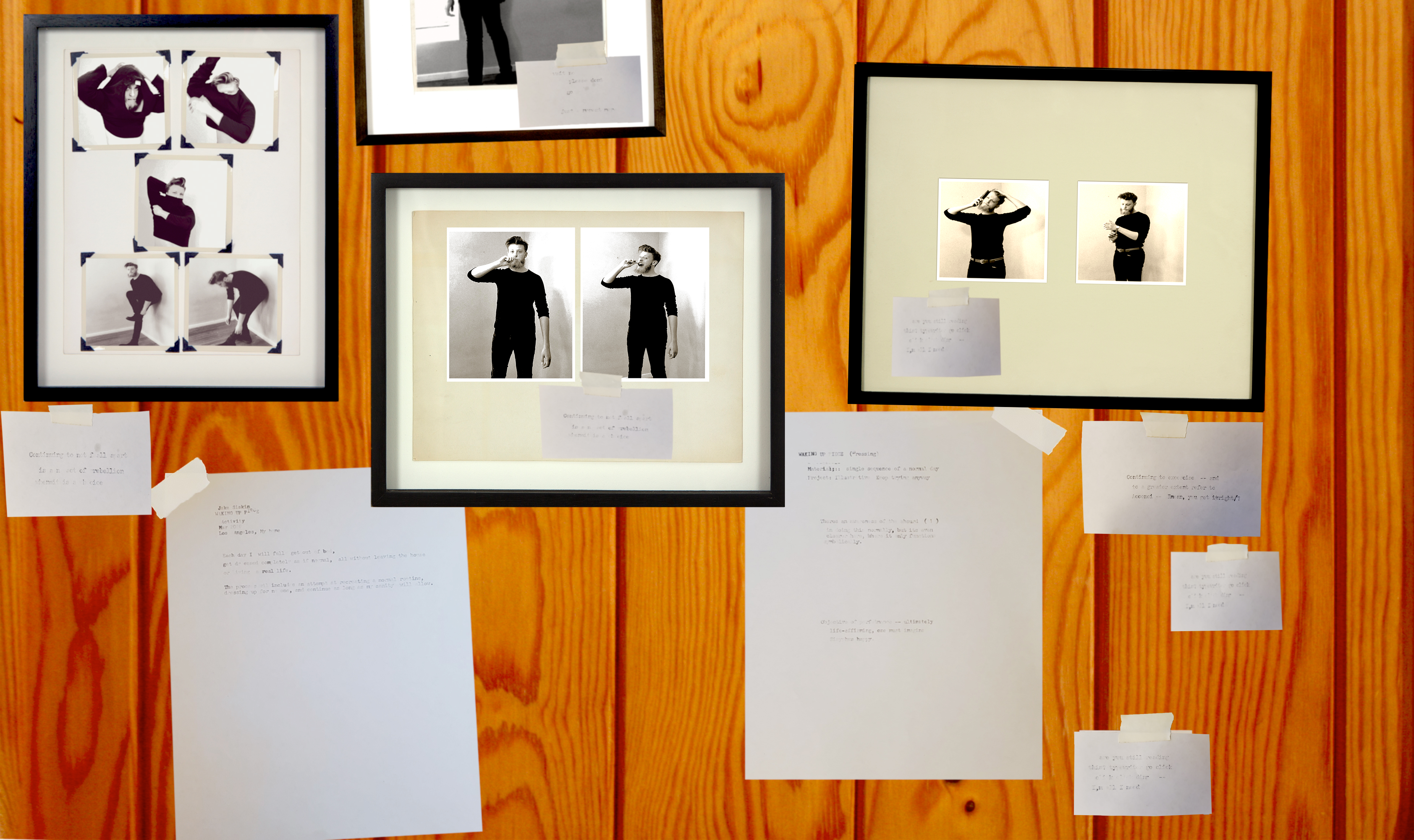 collage of framed photos and notes of paper on a wooden backdrop