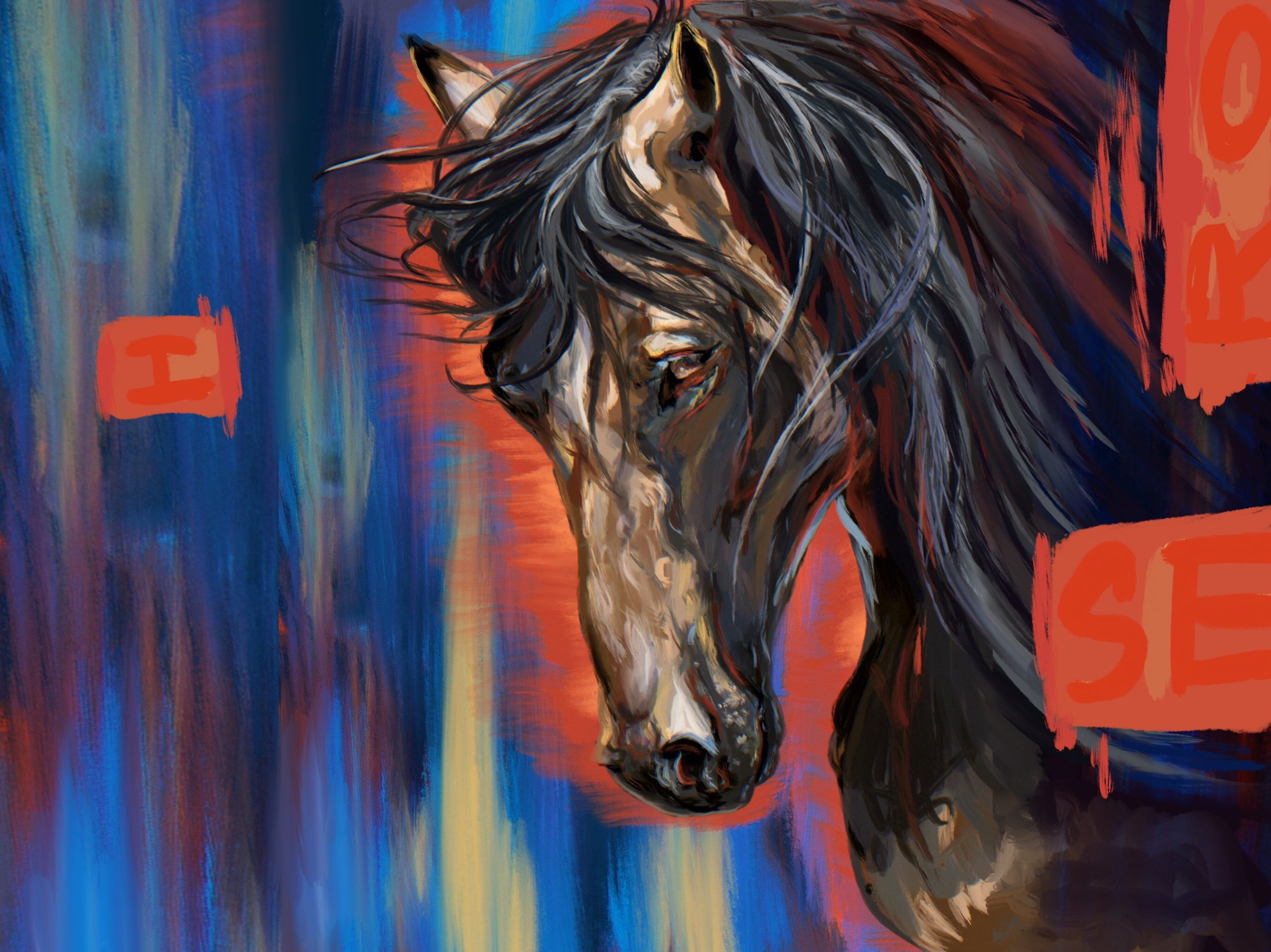 Horse painting with a blue red and  hints of yellow background