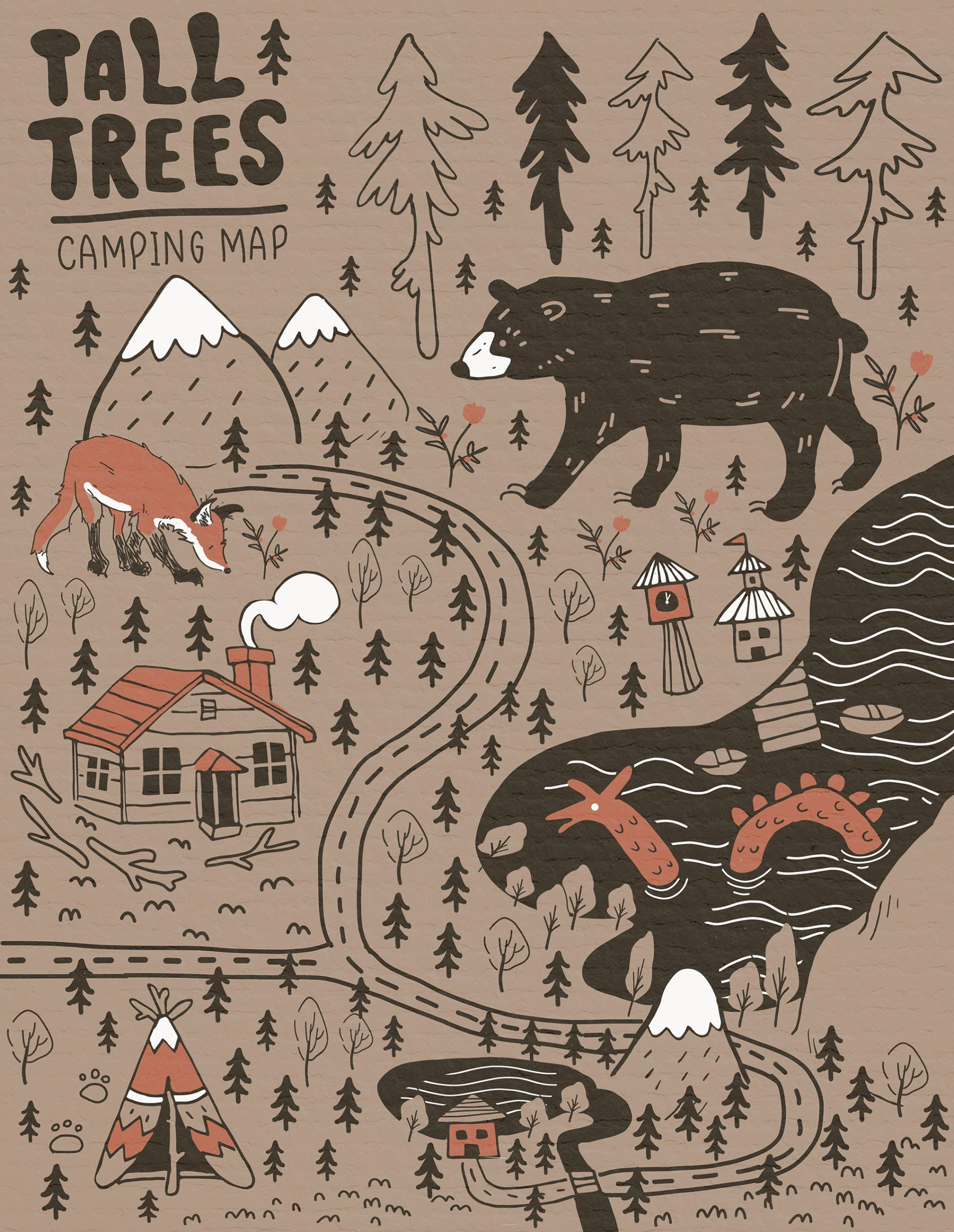 tall trees camping map with bears with brown monochromatic colors