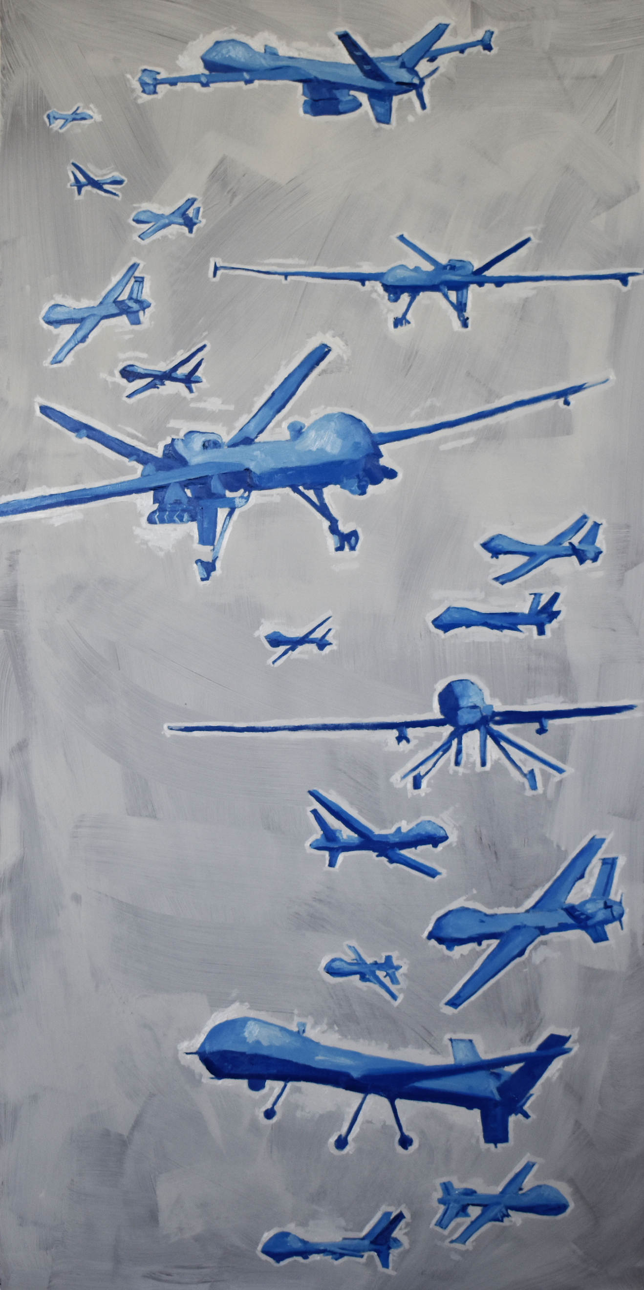painting of blue airplanes