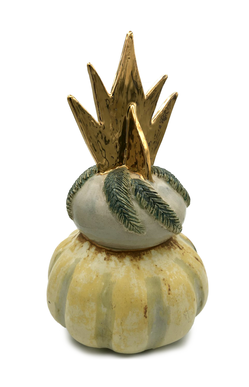 two pumpkin shapes on top of each other with a golden crown, abstract shape on top