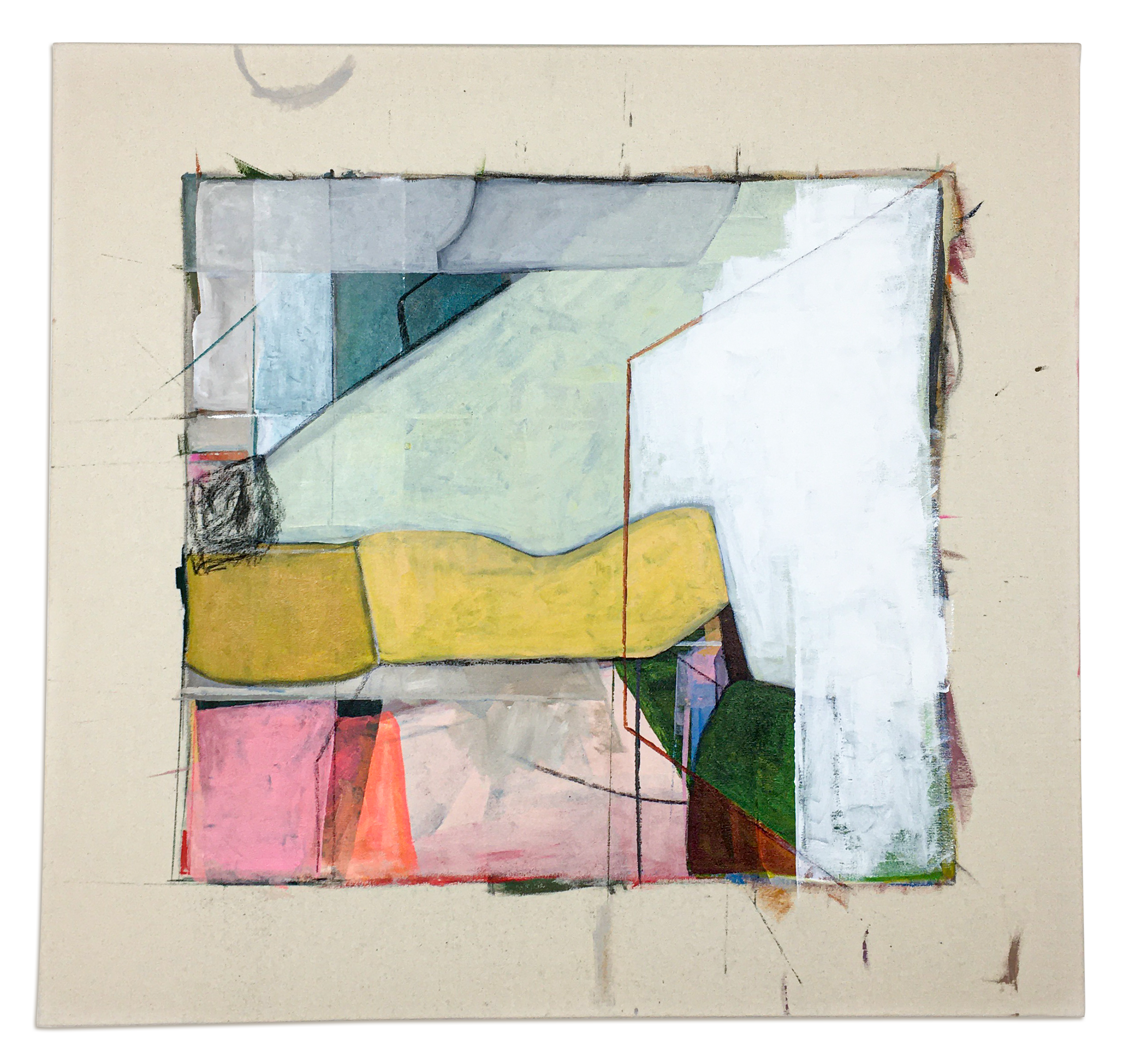 abstract painting with bigger brush strokes in yellow, pink, white, and greens