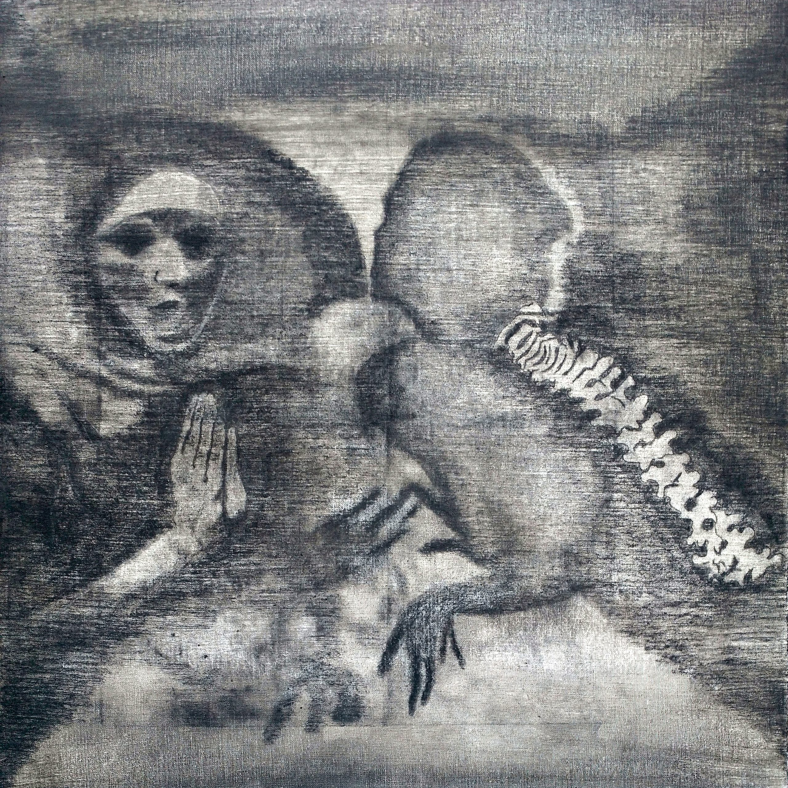 skeleton staring at it's reflection charcoal drawing